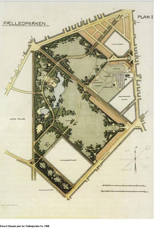 Edvard Glæsels plan for Fælledparken 1908