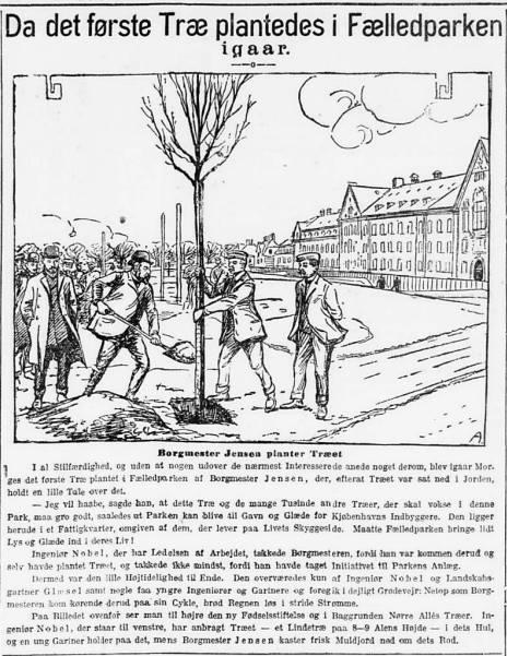 Politiken 28 april 1909 - Da det første Træ plantedes i Fælledparken